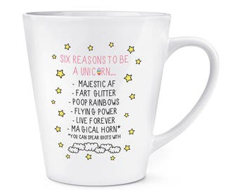 Reasons To Be A Unicorn 12oz Latte Mug Cup