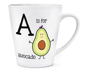 Letter A Is For Avocado 12oz Latte Mug Cup