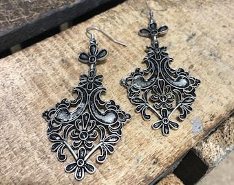 Antique style scroll earrings