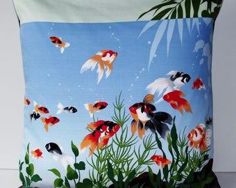 "Japanese Furoshiki Oriental 'Kingyo Goldfish Motif ' Cushion Cover 18.5"" x 18.5"""
