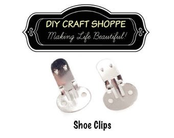 Shoe Clips Blanks - 10 (5 pairs) with Rounded Pad, Metal Shoe Clip, DIY Shoe Clips, metal shoe clips