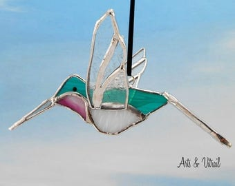"Bird Hummingbird 3D Stained glass - Stained Glass Hummingbird, Green, Pink and White, Wings and Tail in Clear Glass, About 6"" (15cm) long"