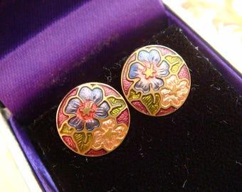 Vintage Fine Cloisonne Guilloche Enamel Flower Posy Earrings, Great Cond. Just Adorable! Vintage Jewellery