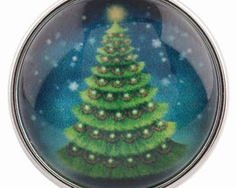 C0124 Art Glass Print Chunk - Christmas Tree Under the Stars