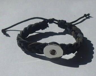Black Braided Leather Ajustable Bracelet