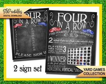 yard games - four in a row yard game sign - bbq yard games - four in a row - yard game sign - printable yard game sign -  wedding yard games