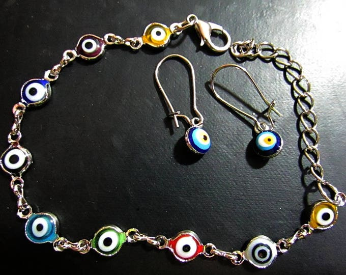 Lucky Eye Jewelry Set Bracelet and Dangle Earrings