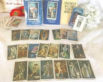 Vintage Tarot of the Cat People Deck Cards boxed Set, 1992 Fortune Telling Cards, Astrological book, Halloween Games, Playing Cards, Astrolo