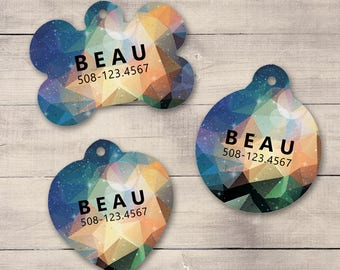 Peach Blue Galaxy Pet ID Tag, Geometric Galaxy Pet Tag, Custom Pet Tag, Personalized Dog Tag, Dog ID Tag, Dog ID, Pet Tag, Cat Tag (0017)