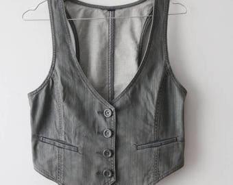 Vintage Grey Denim Vest Women Denim Vest Grey Jeans Waistcoat Fitted Buttons Up Vest Small Size Vest