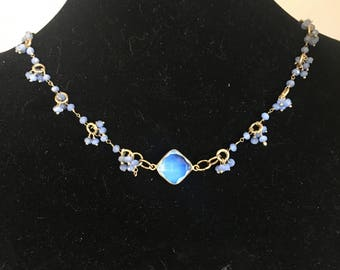 Opalite and crystal necklace handmade