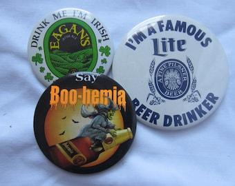 3 Beer Collectible Button Pin Eagan's, Bohemia, Miller Lite