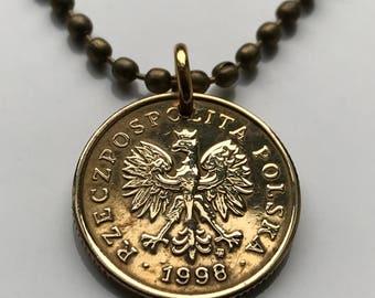 Polish eagle pendant etsy 1999 to 2010 poland 5 groszy coin pendant polska white eagle warsaw krakw pozna polish polak mozeypictures Images