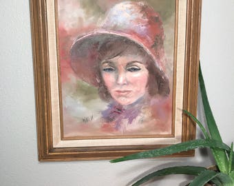 """Original Signed Acrylic """"Woman in Hat"""""""