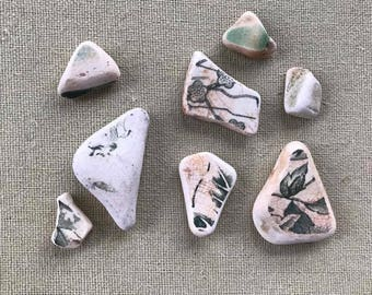 Lot Of Green And White Sea Pottery Pieces From Scotland - For Crafts, Mosaics, Or Jewellery Making