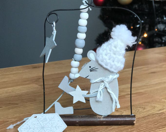 Mrs Grey the Mouse on a branch, Christmas Star Sign Decoration