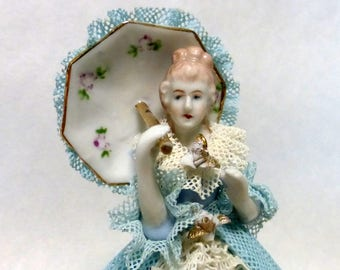 "Vintage 1950's Japan Dresden Lace 5"" Porcelain Figurine Lady with Parasol"