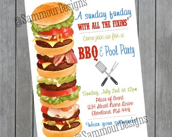 BBQ Invitation - Sunday Funday - Party Pool Invitation - Family Invitation