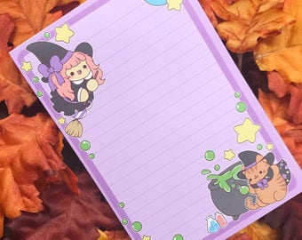 Witch's Brew Notepad ( witch cat hallowen potion notes note pad )