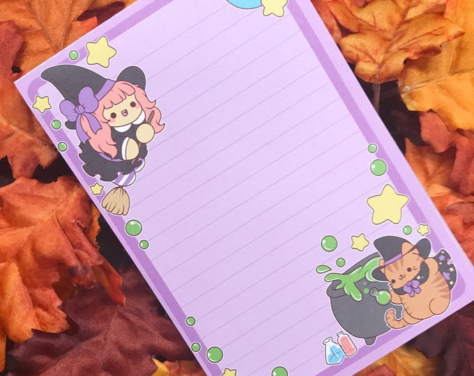 Featured listing image: Witch's Brew Notepad ( witch cat hallowen potion notes note pad )