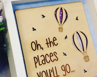 Oh the Places You'll Go-Framed Wooden Wall Art