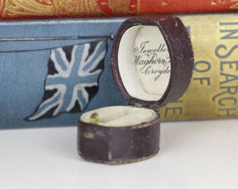 Antique Ring Box Engagement or Wedding Ring Box - Brown Leather with Cream interior