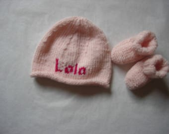 Personalized Pink Hat with the name of cashmere and Merino 0/3 months