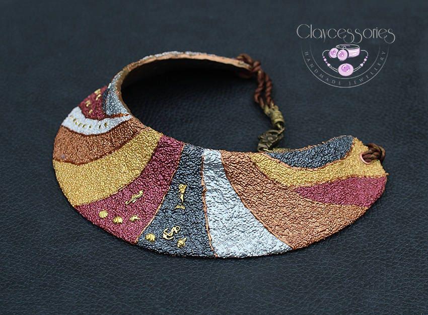 Bib necklace / Statement necklace / Art necklace /  Collar necklace / Choker necklace / Patchwork necklace / Polymer clay necklace