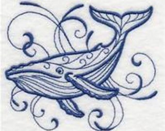 embroidered Hand towel - intricate ink blue whale - many colors available