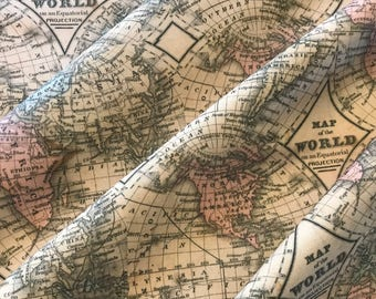 Old world map etsy old world map fabric bty cotton canvas beautiful weight and does not stretch 54 publicscrutiny Gallery