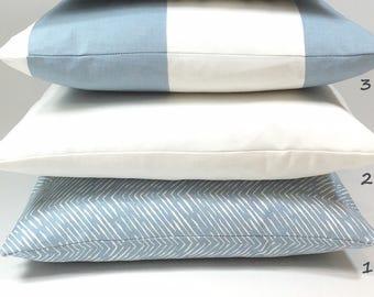 Blue Pillow Cover- Light Blue, White, Euro, Pillowcases, Pillow Cushions, Throw, 16 x 16, 18 x 18, 20 x 20, 22 x 22, Pillow Covers