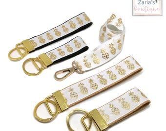 Gold Pineapple Lanyard * Mini Key Fob * Tropical * Gold * Pineapples * Keyring * Key Chain * Breakaway * Safety * Keychain * Womens Gift Set
