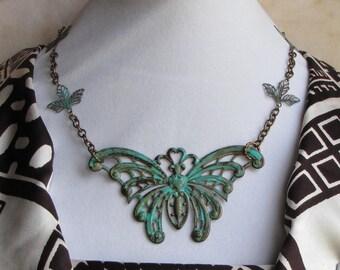 Oxidized Brass Butterfly Necklace