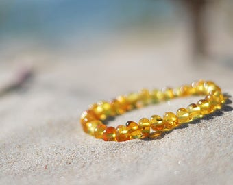 Baltic amber bracelet, amber jewelry, handmade bracelet, natural amber, raw amber beads, lemon color, polished, best gift