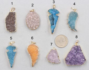 Druzy Pendants -- With Electroplated Gold Edge Druzzy Drusy Geode Dainty Charms Wholesale Supplies Handmade YHA-303