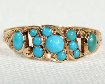 Victorian Turquoise Ring 15k Gold