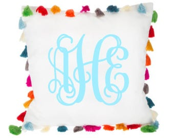 Monogram Tassel Pillow Cover. Pom Pom Monogram Pillow. Personalized Pillow. Embroidered Pillow. Tassel Pillow. Monogram Tassel Pillow