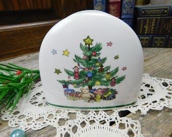 Vintage Nikko Happy Holidays Napkin Holder - Christmas Tree - Christmas