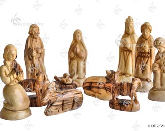 Olive wood nativity carved Christmas tree nativity set holy family 15cm on Sale - Holy land