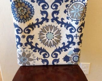 Rustic Indigo and natural linen chair back covers kitchen chair slipcover. Cottage chic. & Kitchen chair slipcover chair back cover dining room chair islam-shia.org