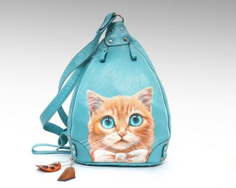 Blue leather backpack painted pet portrait cowhide backpack purse leather rucksack triangular cat backpack shoulder bag girls backpack