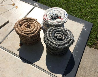 Plarn Baskets with Lids