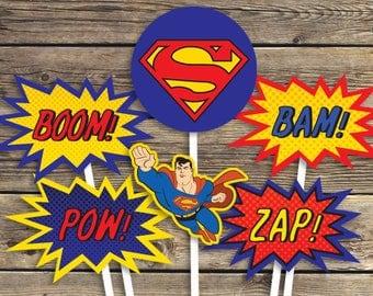 Superman Printables - Sign - Centerpiece photo prop - Super hero - Birthday Party - INSTANT Download PDF