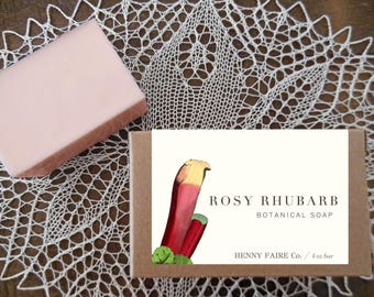 rosy rhubarb soap | rhubarb & rose natural soap with tomato leaf, pink peppercorn, and grapefruit | 4 oz botanical bath bar