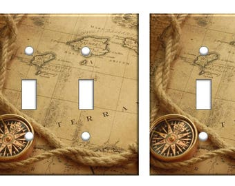 Nautical compass map light switch plate cover // old map rope // SAME DAY SHIPPING !!  **