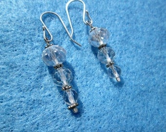 Chinese Crystal Icicle Sterling Silver Earrings
