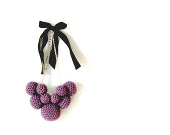Wool Necklace with crochet balls