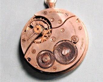 Steampunk Vintage Elgin Mercador Pocket Watch Movement Pendant with Chain OOAK #35