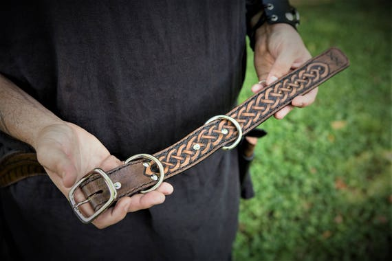 Custom Viking Themed Dog Collar with Tooled Knotwork Designs and Runes