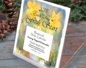 """2018 Botanical - REFILL for Desk Calendar  """"Each Day a Fresh Start""""  12 monthly pages. Award-Winning Watercolors"""